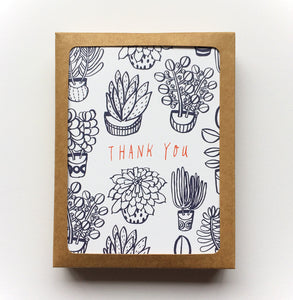 Succulents Thank You Card Set - Set of 8 - Multiple Colors