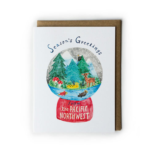 Pacific Northwest Snow Globe Holiday Greeting Card