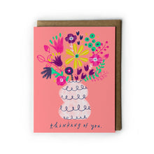 Pink Floral Thinking of You Card