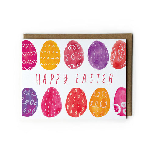 Watercolor Pink Easter Eggs Greeting Card