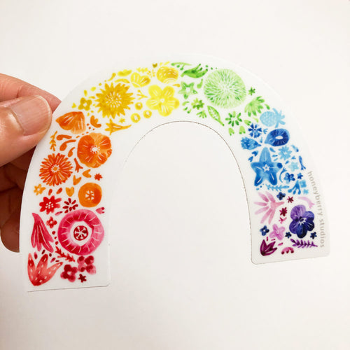 Rainbow Flower Arch Vinyl Sticker