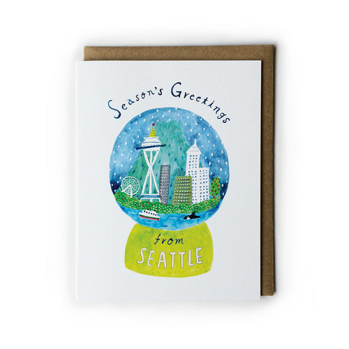 Seattle Snow Globe Holiday Greeting Card