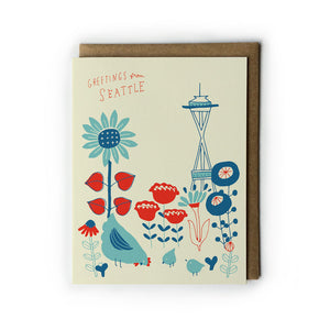 Vintage Chicken Garden Greetings from Seattle Card