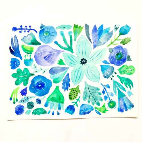 Blue and Green Flowers - 9