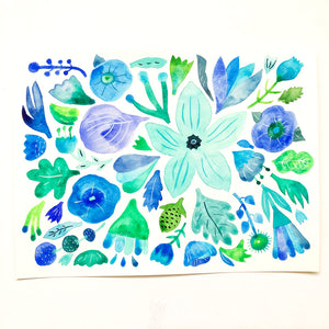 "Blue and Green Flowers - 9""x12"""