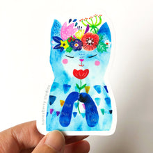 Blue Flower Kitty, Vinyl Sticker