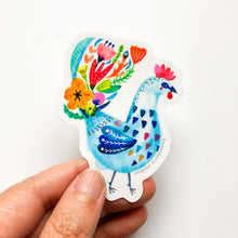 Blue Flower Rooster, Vinyl Sticker
