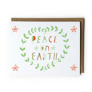 Peace on Earth Holiday Greeting Card - Multiple Colors