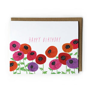 Red, Pink & Orange Poppies Birthday Card