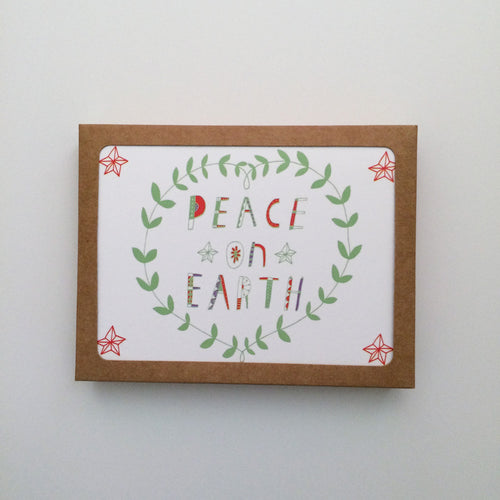 Peace on Earth Holiday Greeting Card Set - Set of 8 - Multiple Colors