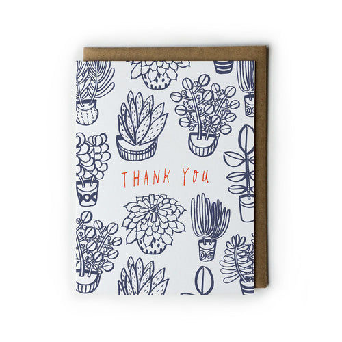 Succulents Thank You Card - Multiple Colors