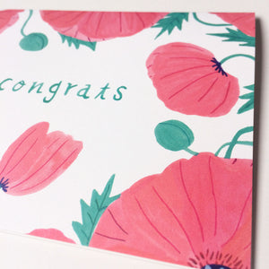 Pink Poppies Congrats Card