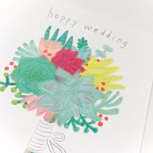 Succulent Bouquet Wedding Card
