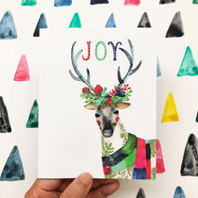 Reindeer Joy Wreath Holiday Greeting Card