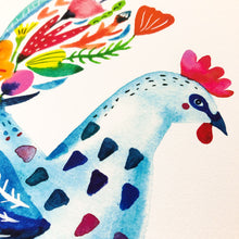 Blue Flower Rooster, Giclee Art Print