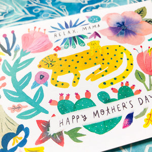 Cheetah Mama & Cub Mother's Day Card