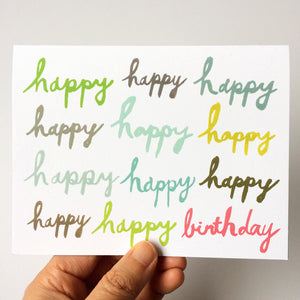 Happy Happy Birthday Brush Lettering Card (Blue, Pink, Grey & Olive)