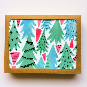 Christmas Forest Holiday Greeting Card Set - Set of 8