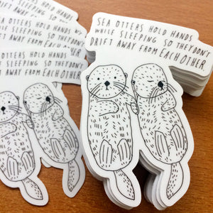 Sea Otter Holding Hands, Vinyl Sticker
