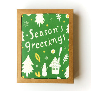 Season's Greetings Holiday Greeting Card Set - Set of 8 - Multiple Colors
