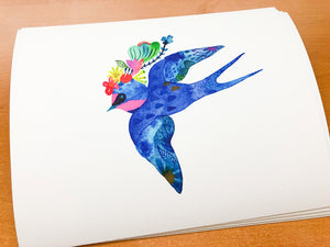 Blue Flower Swallow, Giclee Art Print