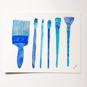 "Blue Paint Brushes - 5.5""x7"""