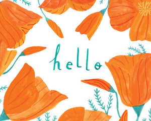 California Poppy Hello, Giclee Art Print