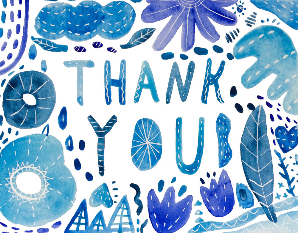 blue watercolor thank you card  honeyberry studios