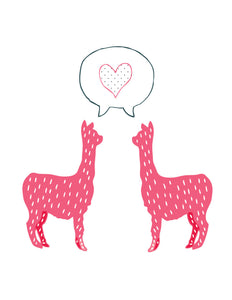 Pink Alpaca Love Card