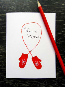 Warm Wishes Red Gloves Holiday Greeting Card Set - Set of 8