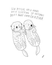 Sea Otters Holding Hands, Giclee Art Print