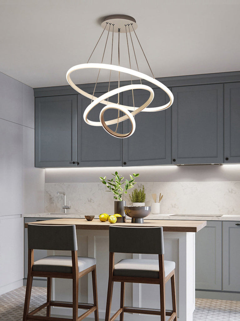 Modern LED Pendant with 3 Circle Rings - Dimmable