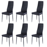 Glass Dining Table And Set of 6 Faux Leather Dining Chairs