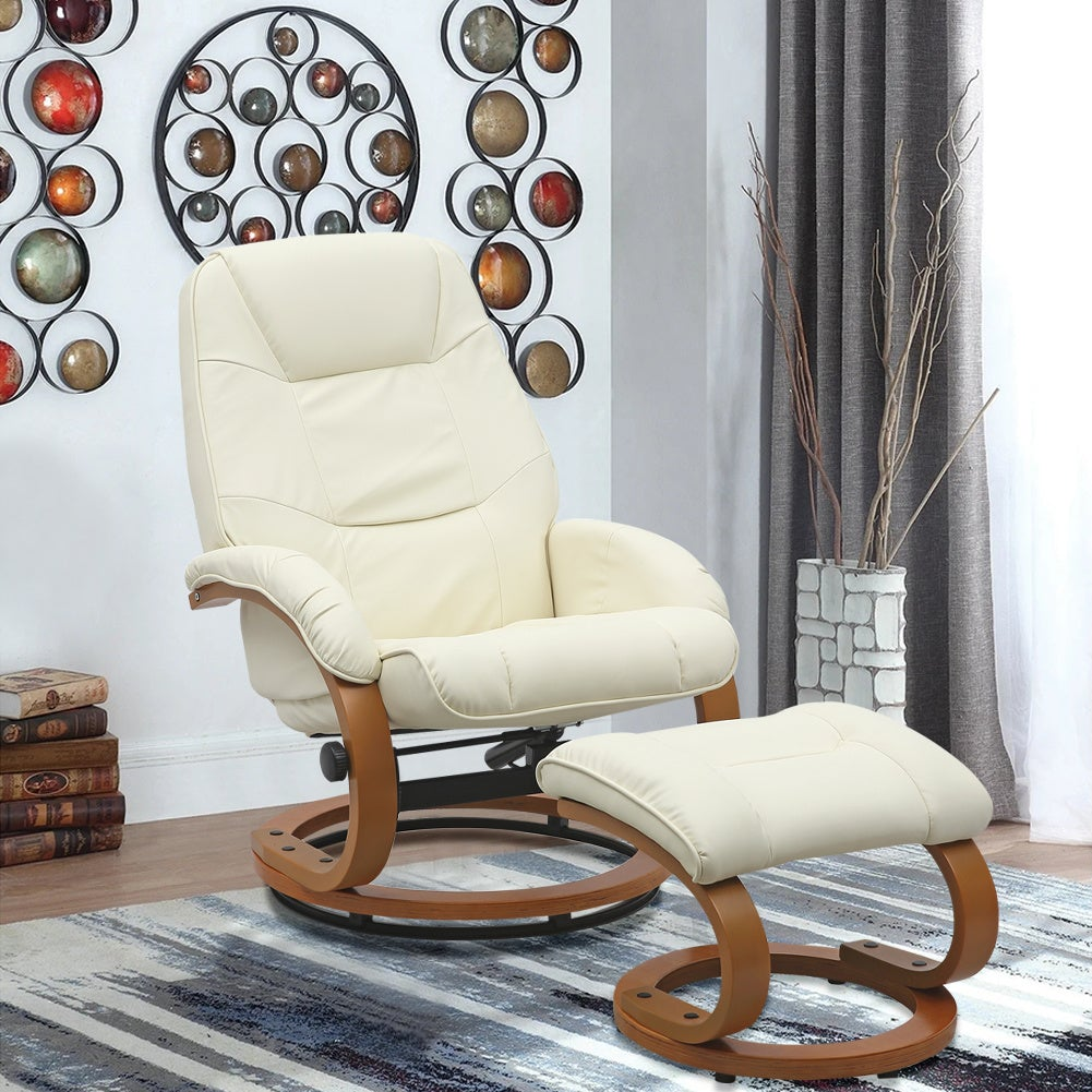 PU Leather Recliner Armchair with Footstool
