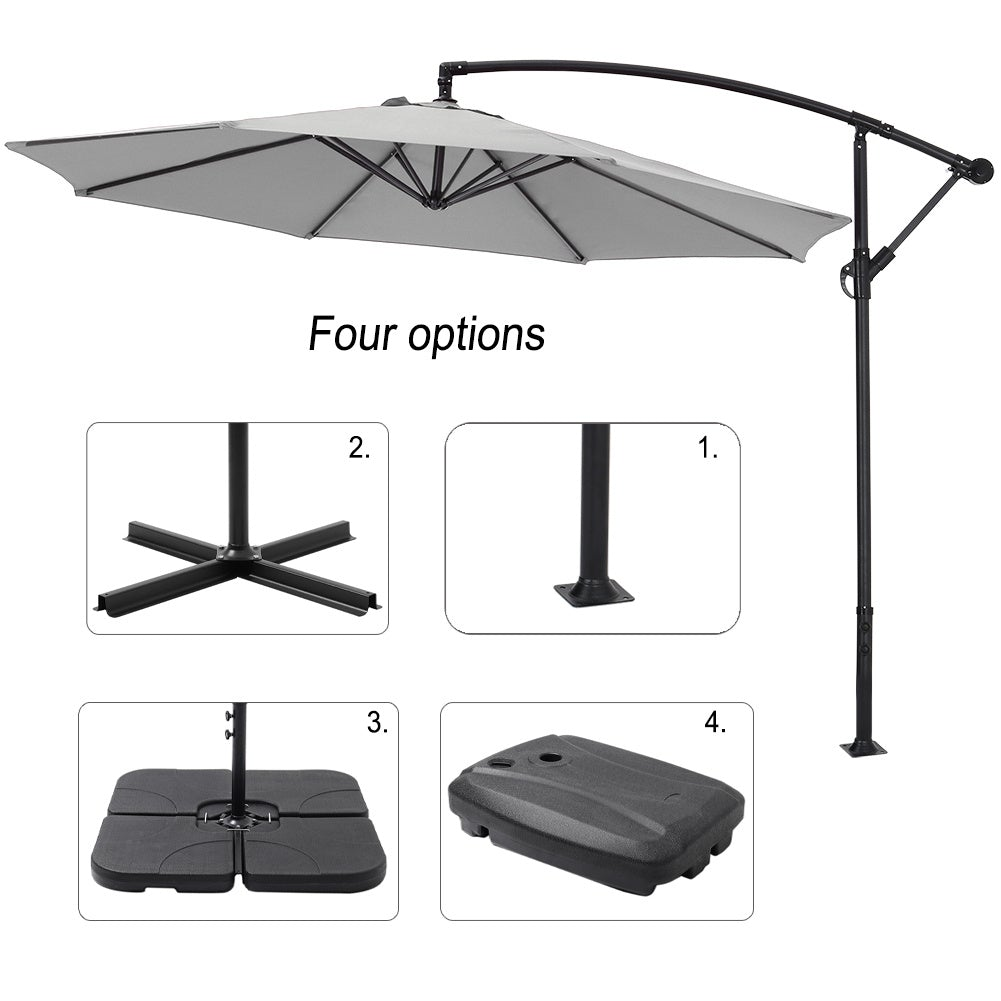 3M Light Grey Sun Parasol Hanging Banana Umbrella