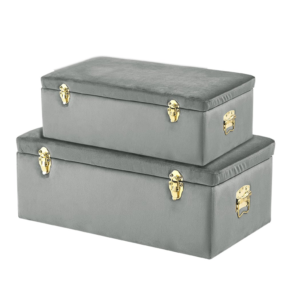 Set of 2 Velvet Storage Box Footstool