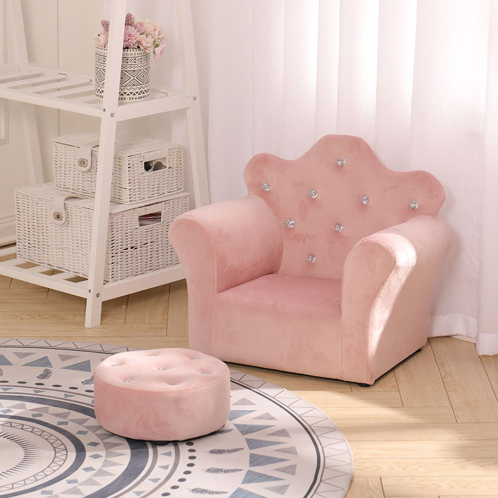 Kids Comfy Armchair Small Sofa and Footstool