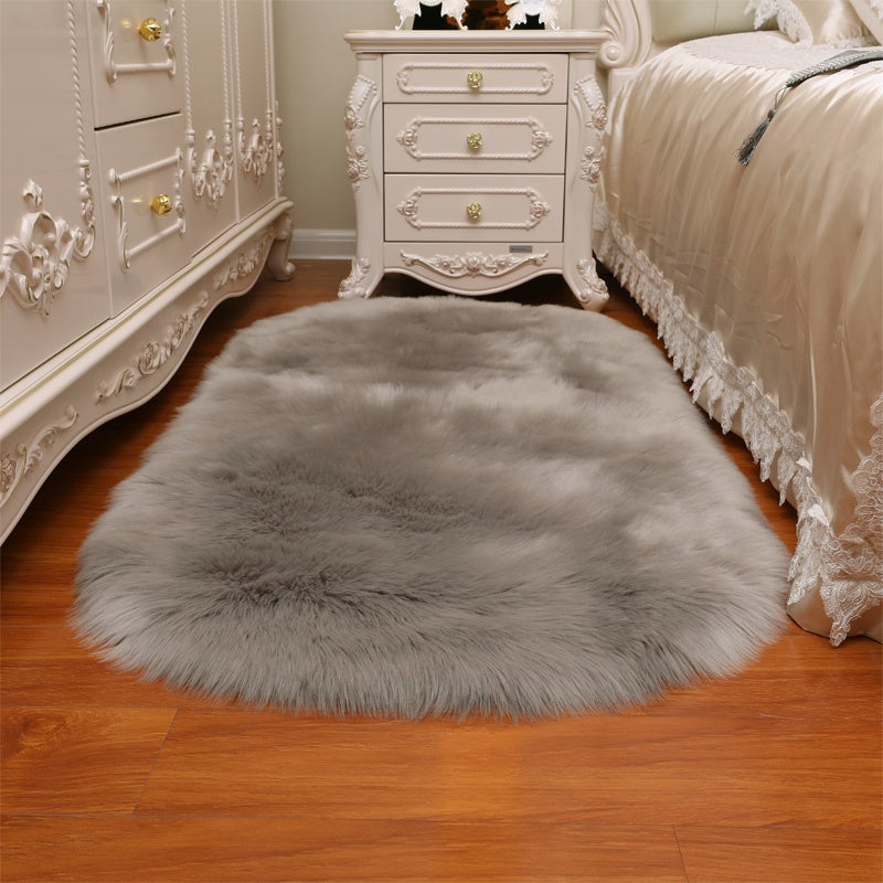 Grey Oval Fluffy Shaggy Sheepskin Area Rugs