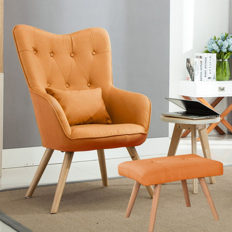 Wingback Lounge Chair and Footstool