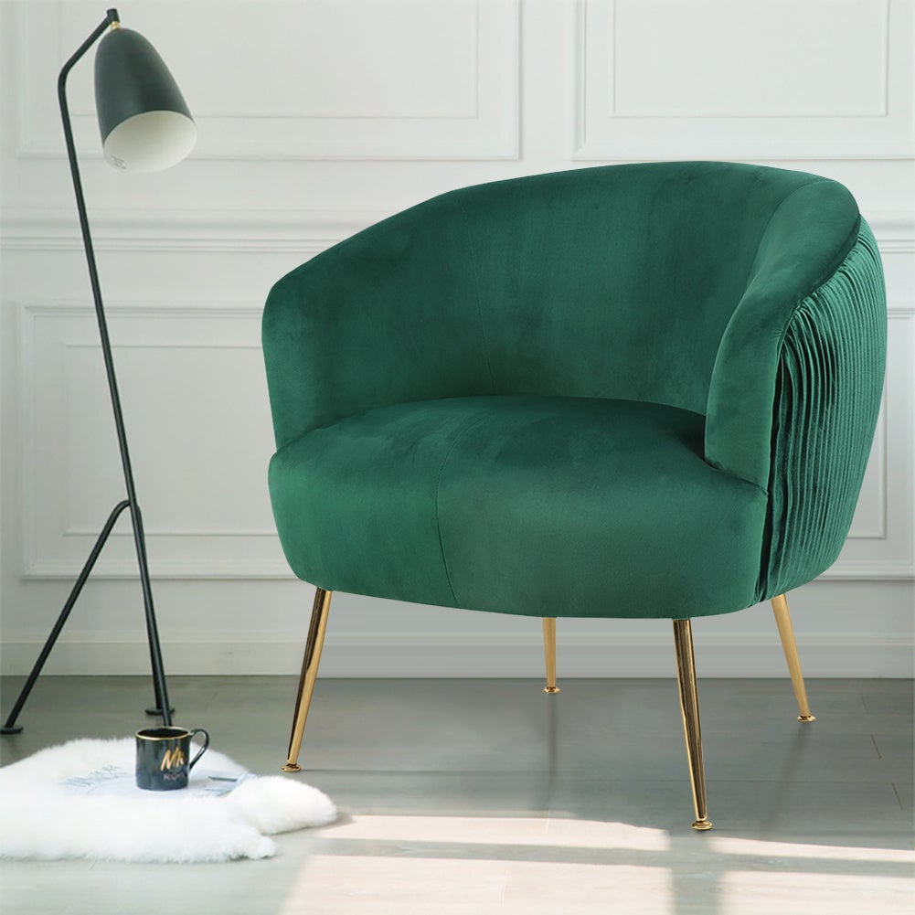 Velvet Pleated Armchair