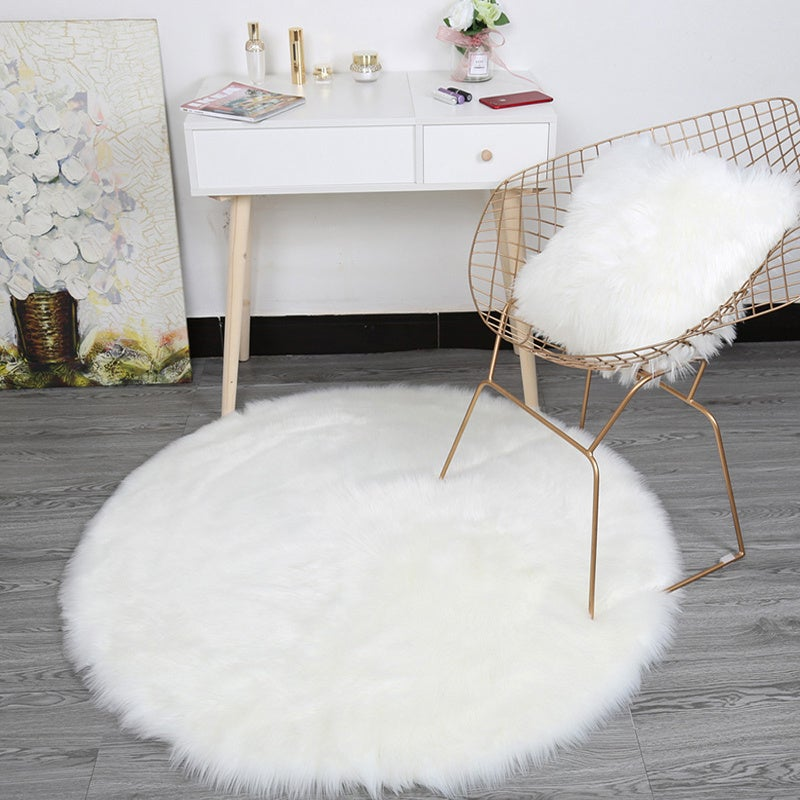 White Round Fluffy Shaggy Sheepskin Area Rugs