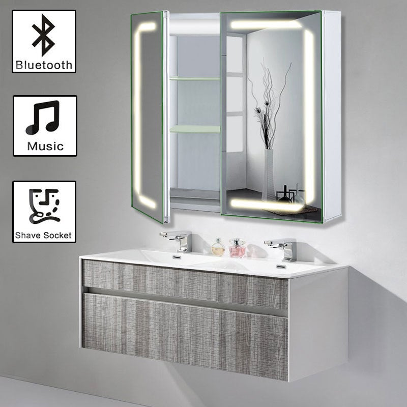 Rectangle Double Door LED Bathroom Mirror Cabinet