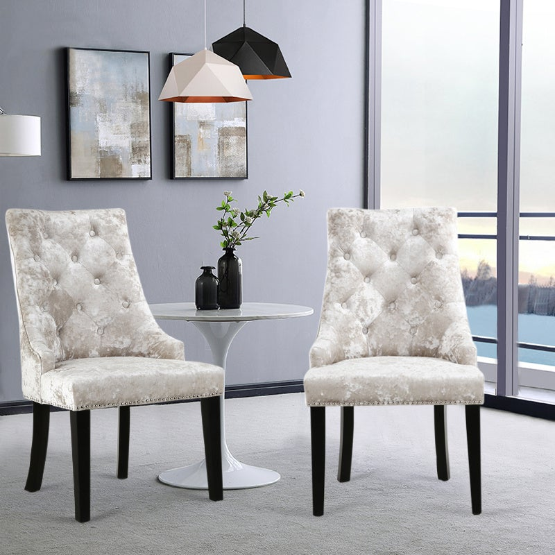 Set of 2 Crushed Velvet Dining Chairs