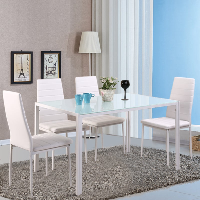 White Glass Dining Table and Set of 4 Faux Leather Dining Chairs