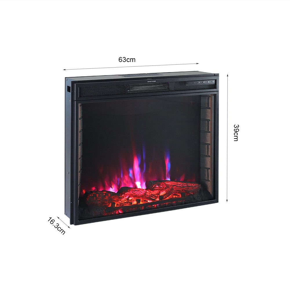 24 Inch Inset Electric LED Fireplace Heater 7 Flame Colours