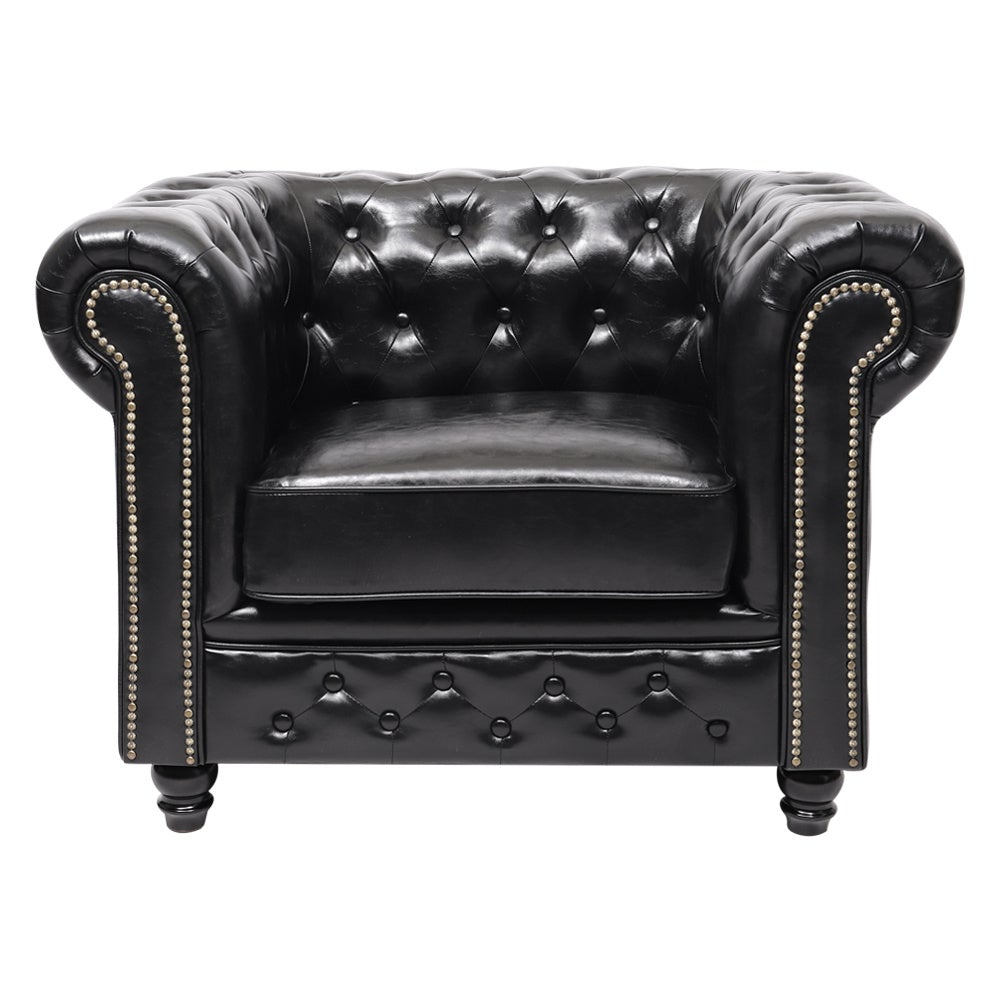 Black PU Leather Chesterfield Sofa