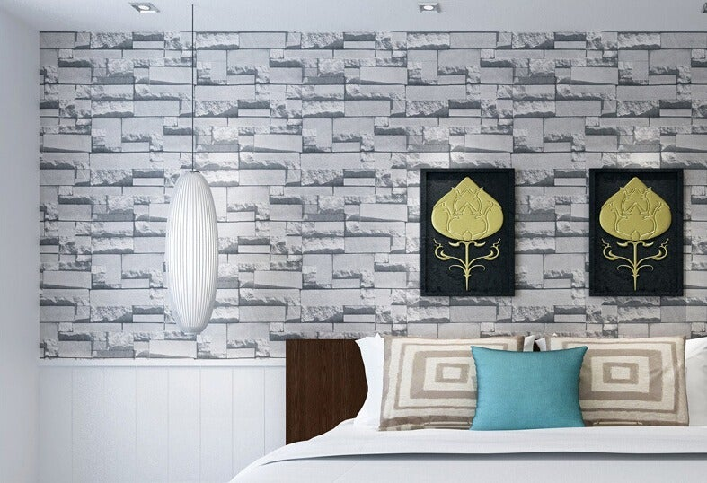 3D Effect Grey Slate Stone Wallpaper
