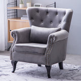 Grey Velvet Chesterfield Rolled Chair With Cushion