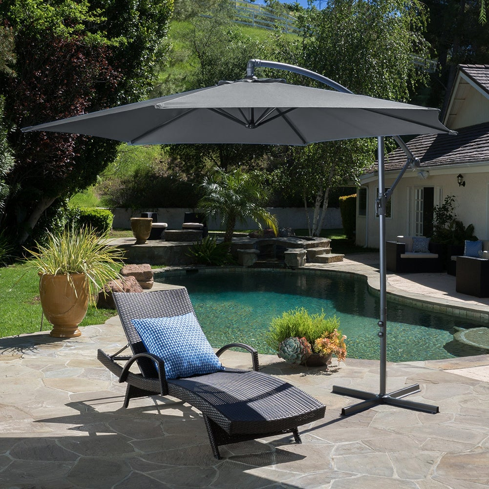 3M Dark Grey Sun Parasol Hanging Banana Umbrella