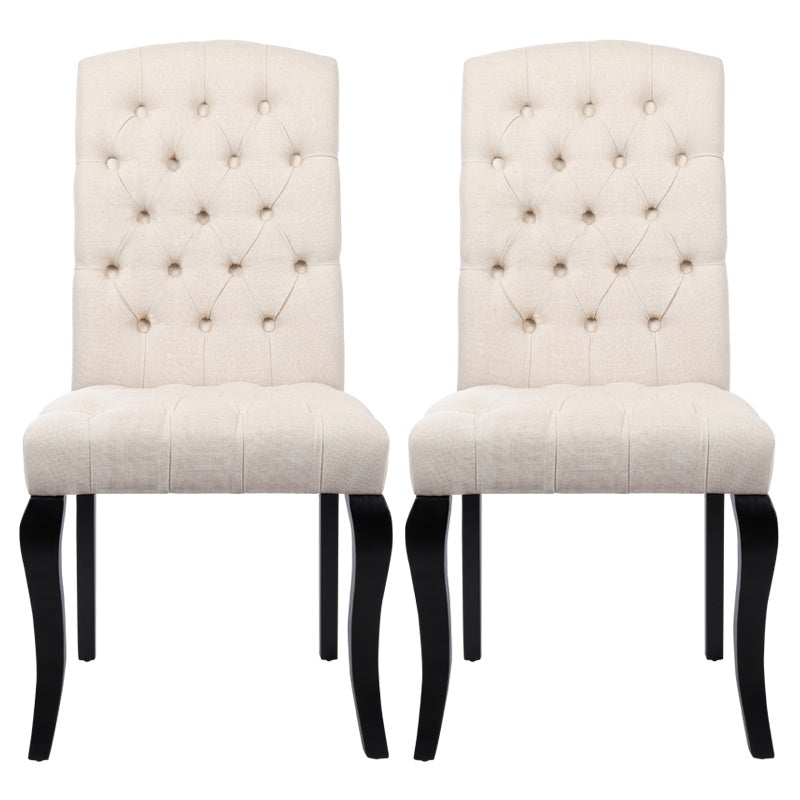 Set of 2 Linen Buttoned Dining Chairs